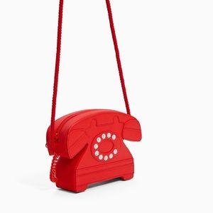 Zara red telephone crossbody bag